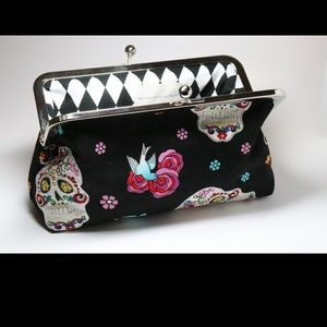 Sugar Skull Clutch. Handmade. New. Made to Order